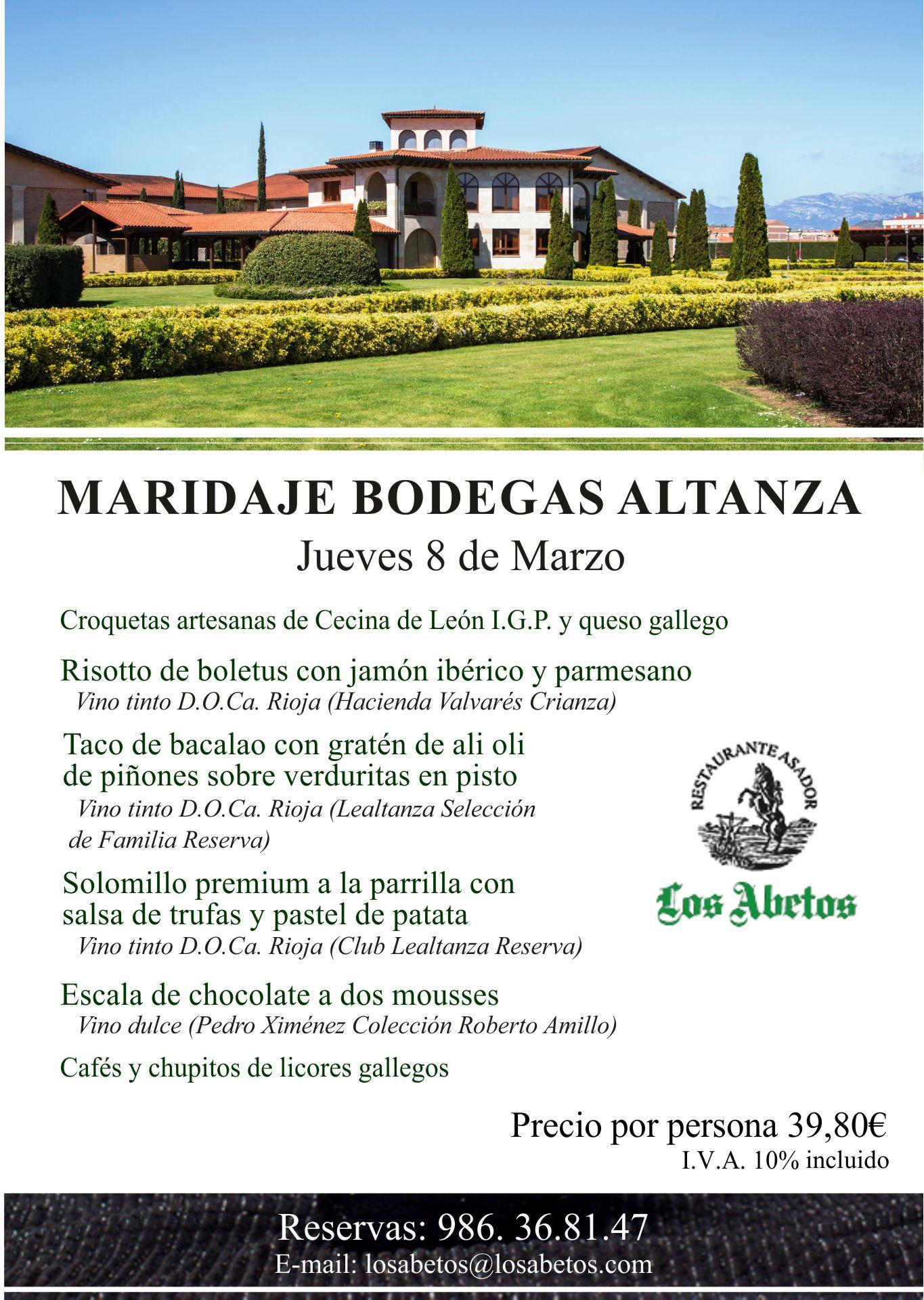 El próximo Jueves 8 de marzo Maridaje Bodegas Altanza